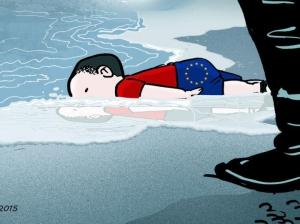 Touchés par la photo d'Aylan Kurdi, ce petit garçon syrien de 3 ans gisant sans vie sur une plage turque après le naufrage de son embarcation, des dessinateurs ont pris leur crayon. Ici,