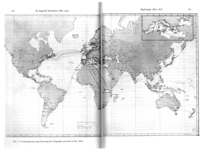 map of telegraph cables, 1880s Read 1992 The Power of News 68 69 Oxford UP